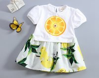baby clothes designer brands - Girls Lemon Dress Summer Designer Baby Clothes Lemon Print Kids Casual Dress Sleeveless Princess Dress for Girls European Clothing