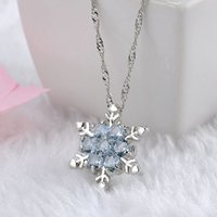 Wholesale Charm Vintage lady Blue Crystal Snowflake Zircon Flower Silver Necklaces Pendants Jewelry for Women