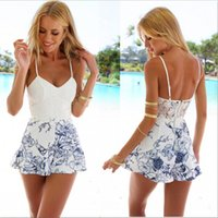 Wholesale New Arrival Fashion Women S Dresses White Floral Printed V neck Sleeveless Jumpsuits for Ladies Summer Beach Lace Sexy Backless Skirt Dress