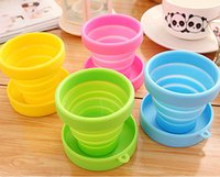 Wholesale Newest Creative Portable folding cup food grade silicone magic cup for Travel Outdoor activities telescopic gargle
