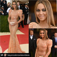 bell power - 2016 Oscar Beyonce Celebrity Red Carpet Dresses Sparkly Amazing Crystal Beaded Bell Long Sleeve Mermaid Occasion Evening Party Gown