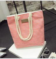 Wholesale Classical Women Ladies Fashion Stripes Canvas Shoulder Bag New Hot Messenger Bag Summer Beach Handbag Bags Totes Bolsa Feminina