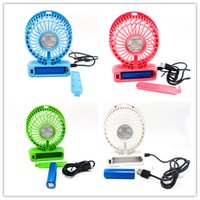 Wholesale Protable mini Fan Multifunctional USB Rechargerable Kids Table Fan LED Light Adjustable Speed Multi Color With Box DHL free