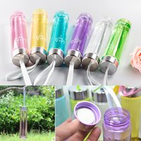 Wholesale sport cup Transparent plastic cups Straight H2O color fashion sports Hot Brand New Portable Plastic Water Bottle With Rope Riding Sports