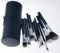 Wholesale Makeup Brushes Set Cup Kits Blending Brushes Travel Kit Foundation Concealer Powder Face Brush Leather Case Makeup Tool set