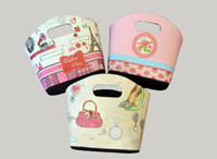 Wholesale Handle Storage boxes Storage Bin for Organization Foldable Fabric Storage Wiht Floral print Containers with Two Handle Holes Oval Tapered