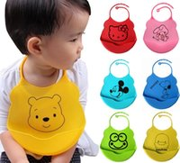 Wholesale High Quality Foldable Year Silicone Baby Bibs Waterproof Baberos Fashion Babador Cartoon Pattern Lunch Bibs Burp Cloths