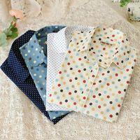 Wholesale Hot New Women Blouses Shirts Long Sleeve Shirt Women Polka Dot Blusas Femininas Turn Down Collar Cotton Shirt Women cs33A