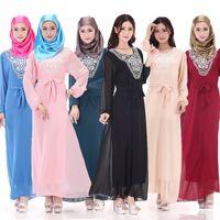 Wholesale women new Muslim gown Abaya Arab Kaftan Abaya Jilbab Islamic Saudi Arabia s chiffon big yards Long sleeve Abaya
