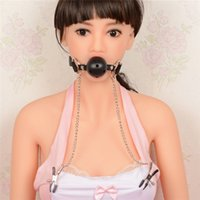adult fashion - New Fashion Adult SM Ball Gag Chained Nipple Clamp With Adjustable Pressure Fetish Sex Products For Adult Slave Games SM Toys