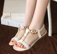 Cheap Boho Sandals Women pregnant women with flat soft bottom diamond flat shoes Open-toed Roman shoes free shipping