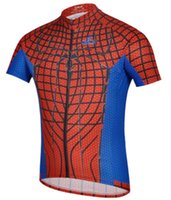 Wholesale Spider Red Blue Cycling Jersey Tops Breathable Sweat Bicycle Cycling Sets Summer Cyling Motorcycle Apparel