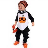Cheap INS Orange Pumkin Sunglasses Boys 2pcs Set Clothing 2016 Autumn Halloween Outfits Long Sleeves T-shirt + Black Pants Pajamas for Baby K8080