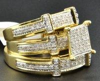 band trio - Diamond Trio Set Matching Engagement Ring K Yellow Gold Wedding Band Ct