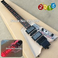 Wholesale Top Quality Acrylic crystal Headless Electric guitar Fingerboard Acrylic Body with LED light Custom guitar