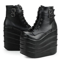 Wholesale PP FASHION Women s High Platform Lace Up Stomp Sneaker Fashion Cosplay Queen Boots Shoes Boots with strap