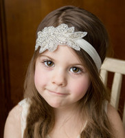 Wholesale Hot sale colors children turban diamante beading leaf shape Headbands handmade Hair Accessories for flower girls