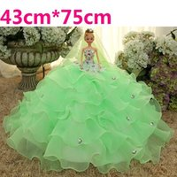 Wholesale Barbie Wedding Dress Barbie Dolls with Large Size Skirt Luxury D Eye Children Birthday Present Toy Bride Decoration Gift Girl