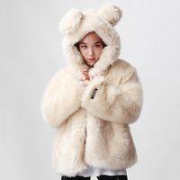 Wholesale Korean Style Winter Warm Faux Fur Coat White Women with Rabbit Ear Hood Causal New Brand Warm Winter Jacket Women Fur White