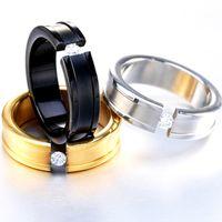 Wholesale Noble Engagment Ring Crystal Zircon Titanium Steel Groove Dull Polish Diamond Couple Wedding Band