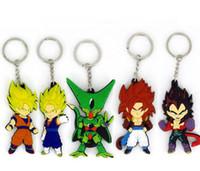 Wholesale Japanese anime dragonball key chain dragon ball PVC soft plastic key ring Sun wukong silicone hang double sided