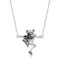 baby gifts silvers - 10pcs New Baby Frog on a Branch Necklace Frog Animal Charm Necklace for Women