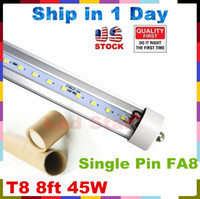 Wholesale UL FCC ft led t8 tubes T8 Single Pin FA8 LED Tubes Light W LEDs High Lumens AC V Stock In US