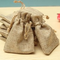 bead jewellery - Small Drawstring Linen Jewellery Pouch Rings Beads Watch Mini Hessian Candy Bag Burlap Jute Gift Wedding Favor Gunny Bags x9cm DHL Free