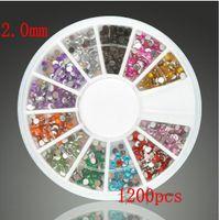 Wholesale With DHL Nail Art Glitter Tip mm Acrylic diamond DIY Rhinestone Deco With Wheel Beauty Nail Art Accessories Dec set