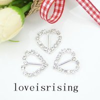 Wholesale 20pcs Heart Ribbon Slider high quality wedding invitation card A Grade Rhinestone Buckle Hairband Hair Clip Decor DIY Supplies