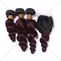 27 cabellos brasileños rizados de pelo de la Virgen 3 con el cordón del lazo encierran paquetes rubios y ondulados de la miel con el encierro