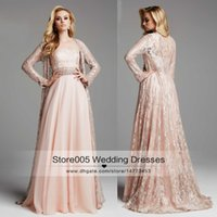 apple coating - Vintage Peach Muslim Evening Dresses Lace With Long Sleeve Coat Jacket Women Formal Mother Prom Gowns Turkey Floor Length Chiffon T06