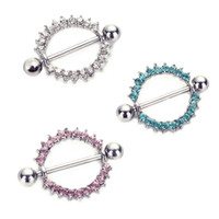 Wholesale 6pcs Silver plated Green Pink CZ Gem Paved Circle Nipple Shield Piercing Rings Body Piercing G Nipple Piercing Body Jewelry