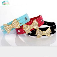 basic knotted - Rhinestone Bow knot Pet Collar Suede Leather Dog Cat Adjustable Buckle Collars Necklace High Quality
