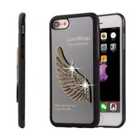 wing mirror - Luxury Angel Wing Plating Mirror PC TPU Skin Cover Case for iPhone S PLUS S SE D Eagle Wing Embossed TPU Coque Fundas Cases