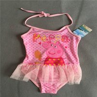 Wholesale kids girls princess character swimwear sunsafe one piece SPA bathers with the lace dress swiming wear pink with the dot