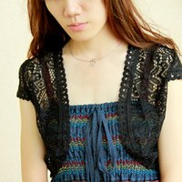 air condition panel - Women Summer Small Cape Black Shawl Cardigan for Dress Korean Sunscreen Clothing Short Thin Shrug Coat Air conditioning shirt S229A