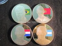 arjen robben - Super Football Stars NEYMAR DA SILVA L MESSI ARJEN ROBBEN C RONALDO gold plated Coins world Cup coin