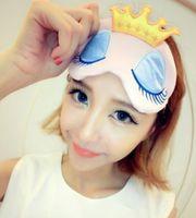 Wholesale New Portable Lovely Cute Cotton Long Eyelashes Crown Style Eye Shade Sleeping Eye Mask ccolor optional
