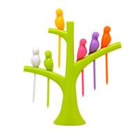 Wholesale Piece Set Bird Shape Fruit Forks with Tree Shape Holder Snack Fork Dessert Fork