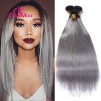 Wholesale Hot Sale Silver Grey Ombre Human Hair Extensions Grey Straight Hair Straight Ombre Brazilian Human Unprocessed Hair Grey Weave