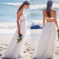 Wholesale Beach Wedding Dresses Two Pieces Sexy White Lace Summer Bridal Gowns Backless Strapless Seaside Simple Dress For Brides