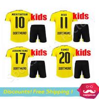 anti clothing - kids REUS Jersey Sports fashion clothing Children Soccer Jersey yellow black REUS MKHITARYAN Camisa AUBAMEYANG kids sets