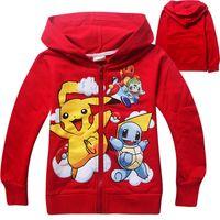 Wholesale 2016 Pikachu Kids Zipper Coat Children Jacket Boys Girls Cartoon Hooded Outfit children shirts