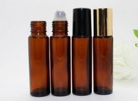 Wholesale Factory Price ml Empty Roll Amber Glass Bottles Refillable Amber Roll On for Aromatherapy Oil Bottle Stainless Steel Roller Balls
