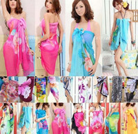 Wholesale 2016 Summer Dazzle Floral Print Women Sexy Chiffon Wrap Pareo Dress Sarong Beach Bikini Swimwear Cover Up Scarf Shawl