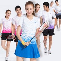 Wholesale 2016 LI NING Tennis Sport Set Polo Shorts Men and Women Badminton Breathable Shirts And Sport Shorts one set AB
