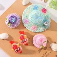 Wholesale Mixed Color Straw Hat Girls Hair Clips