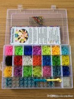 Cheap Rainbow loom kit clear plastic box for Kids DIY bracelets -come with 4200ps rubber bands, 100 clips, 1 hook moq 20pcs lot