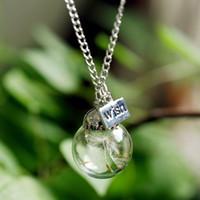 beauty plates - Real Dandelion Seeds Lucky Glass Wishing Bottle Beauty Handmade Pendant Necklace